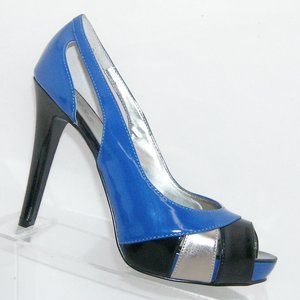 Guess Rainy blue black peep platform heels 8.5M
